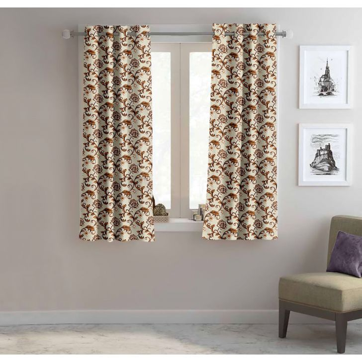 Floral Polyester Window Curtain in Brown Colour by Easy Life