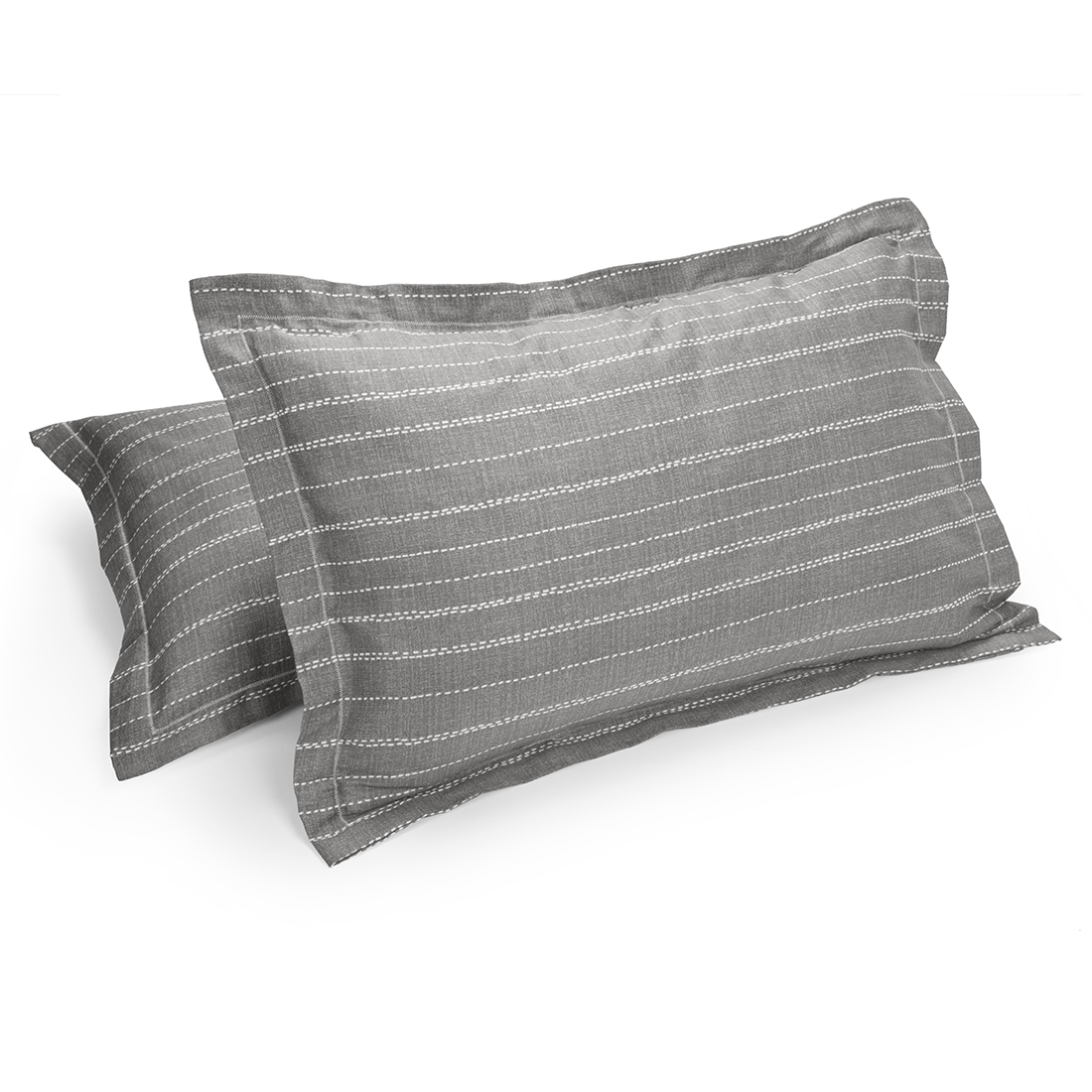 Set of 2 Pillow Cover Amour Texture Grey Cotton Pillow Covers in Cotton Colour by Living Essence