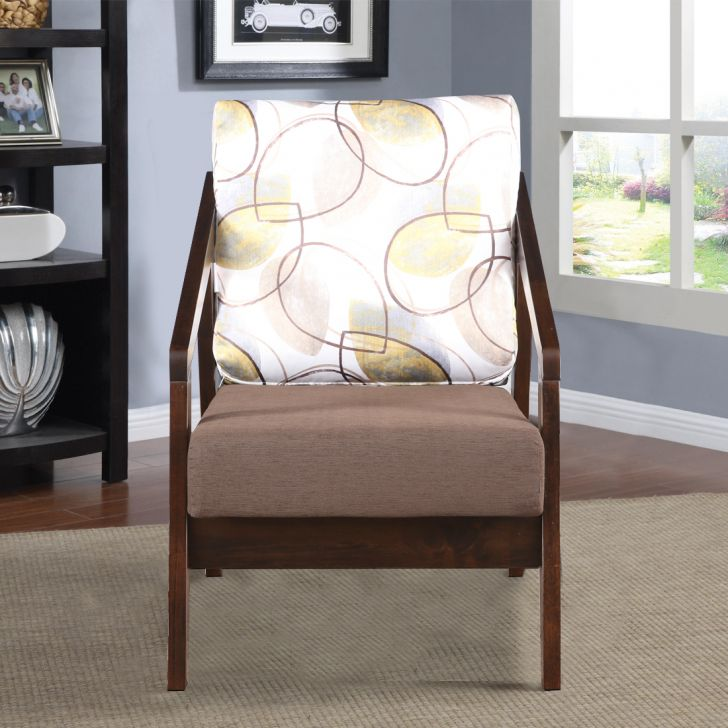 Borris Solid Wood Single Seater Sofa in Printed Brown Colour by HomeTown