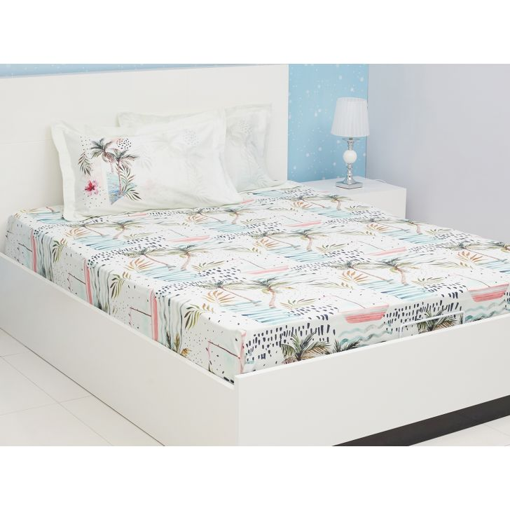 Nora Cotton Double Bedsheets in Aqua Colour by Living Essence