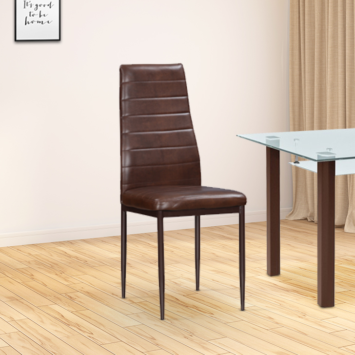 Fiesta Stainless steel Dining Chair Set of Four in Brown Colour by HomeTown