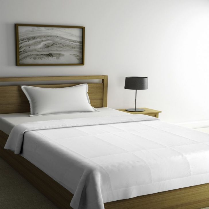 Portico New York Soyabean Single White Duvet 228 cms x 152 cms in White Color by Portico