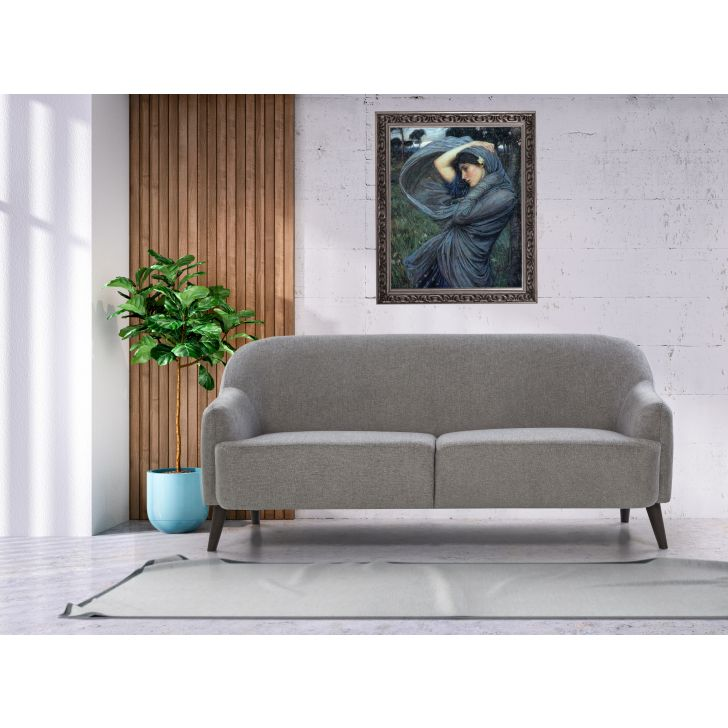Brooke Solid Wood Three Seater Sofa in Grey Colour