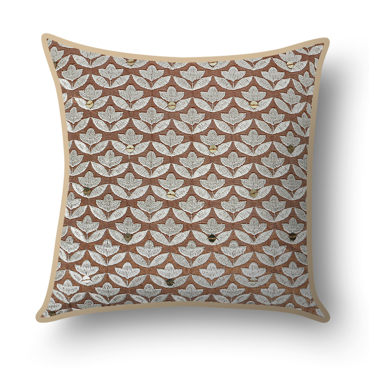 Traditional Cushion Cover Mocha And White Polyester Cushion Covers in Mocha And White Colour by Living Essence
