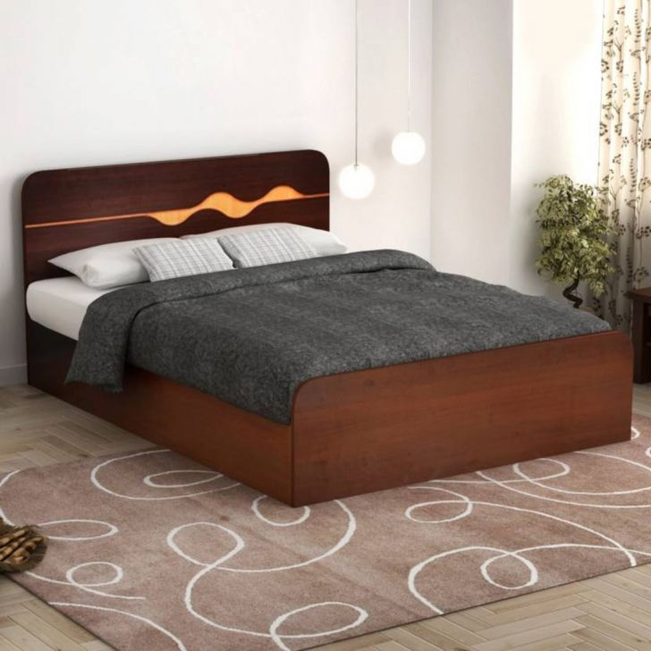 Swirl Engineered Wood Box Storage King Size Bed in Denver Oak ,Urban Teak Colour by HomeTown