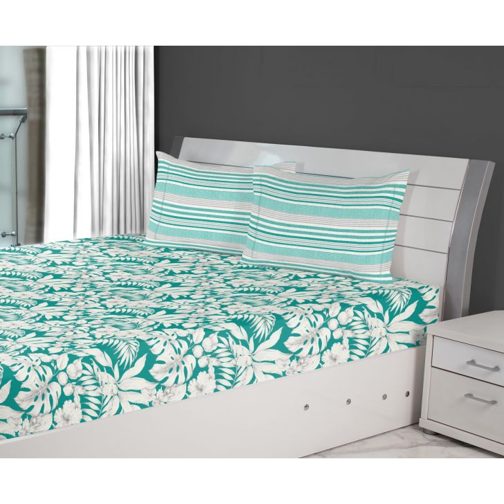 Emilia Cotton King Bedsheets in Teal Colour by Living Essence