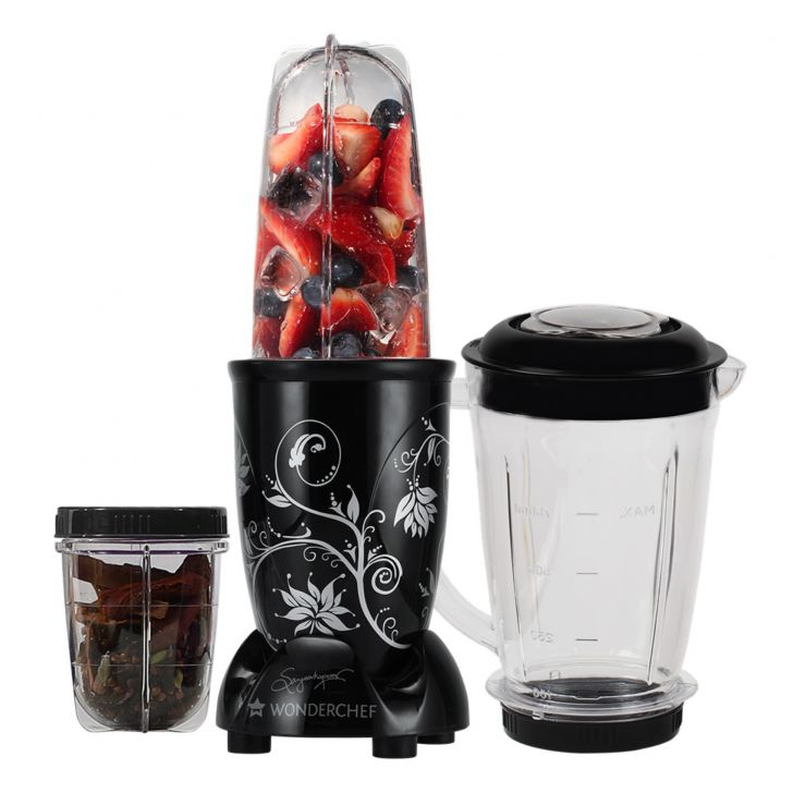Blender & Grinder With Big Mixing Jar Plastic Blenders & Grinders in Black Colour by Wonderchef
