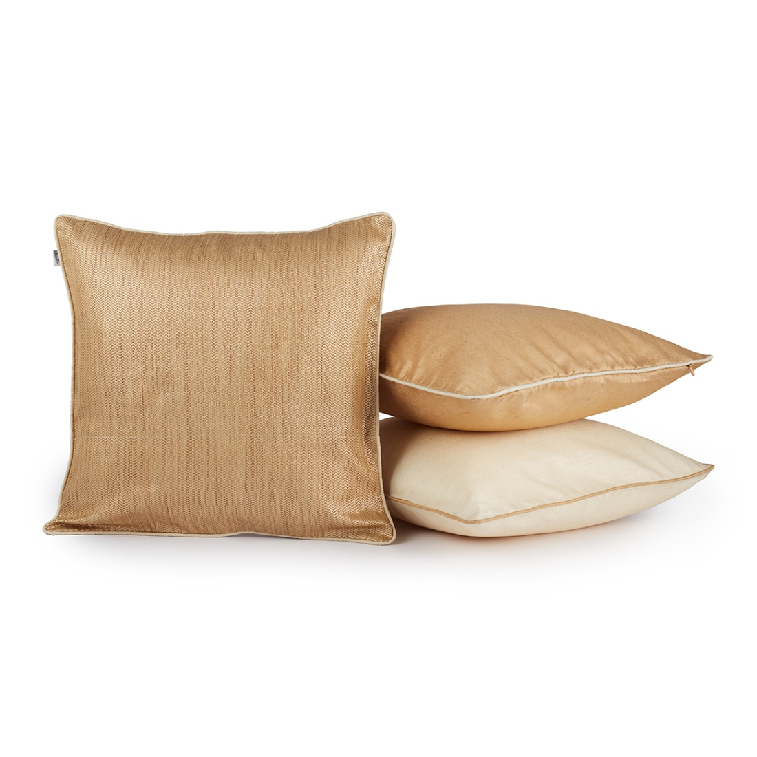 Fiesta Set Of 3 Cushion Covers Beige & Cream Polyester Cushion Cover Sets in Beige & Cream Colour by Living Essence