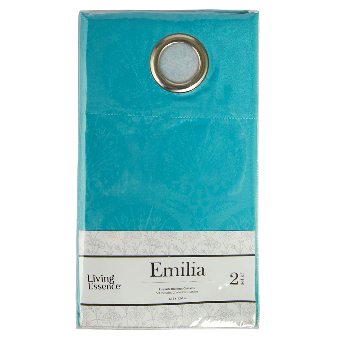 Emilia Jacquard Polyester Window Curtains in Turquoise Colour by Living Essence