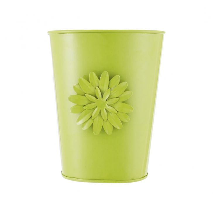 Aria Oval Planter With Brooch Green Metal Pots & Planters in Green Colour by Living Essence