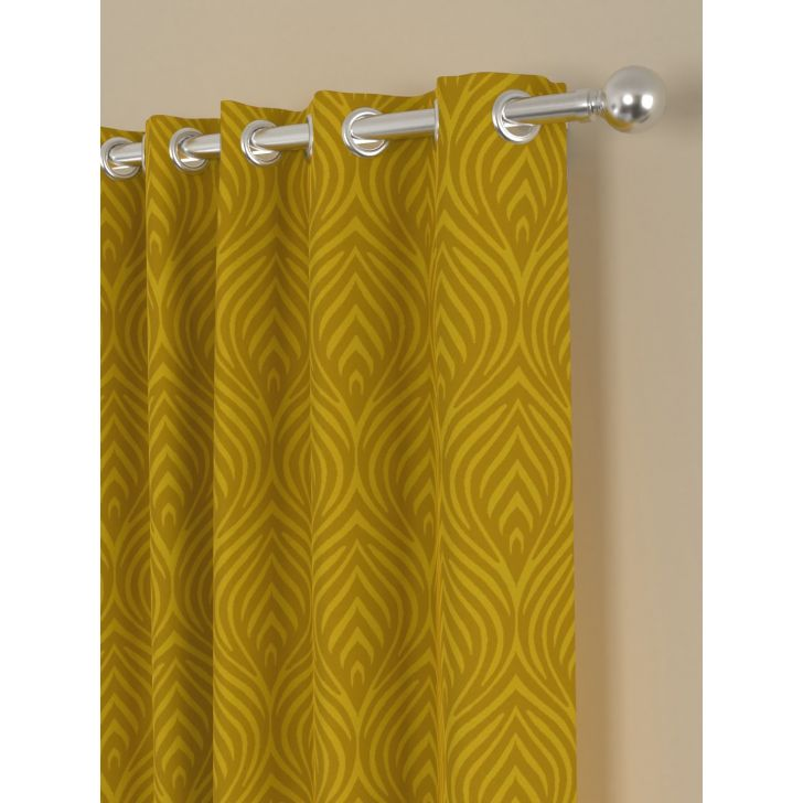 Jacquard Long Door Curtain In Gold Color By Rosara Home
