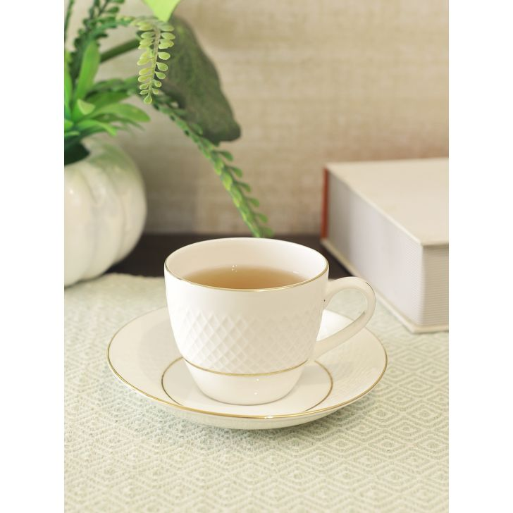 Royal Mezze Bone China Cup & Saucer 170ml in White Colour by Living Essence