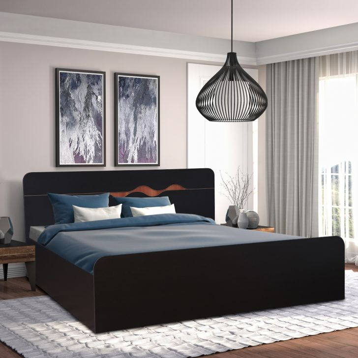 Swirl Engineered Wood Box Storage Queen Size Bed in Wenge Colour by HomeTown