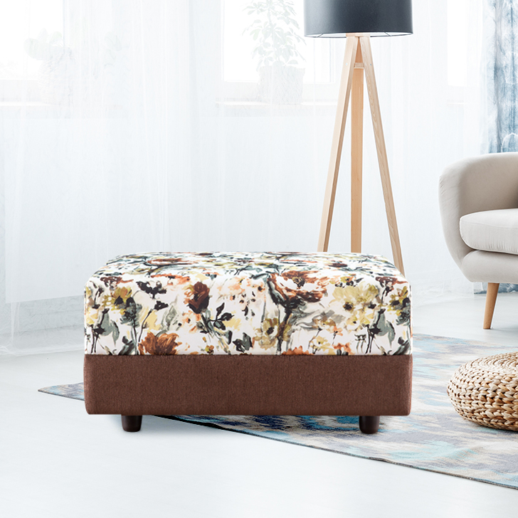 Stuart Fabric Ottoman in Print & Brown Colour by HomeTown
