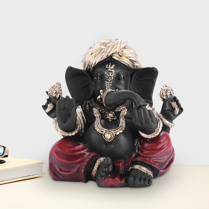 Fio Ganesha Small Polyresin Idols in Black-Red Colour by Living Essence