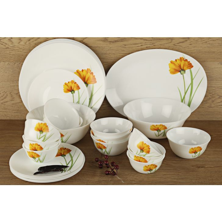 Diva Diva Glowing Charm Ivory Dinner Set 27Pc Opalware Dinner Sets in White Colour by Diva