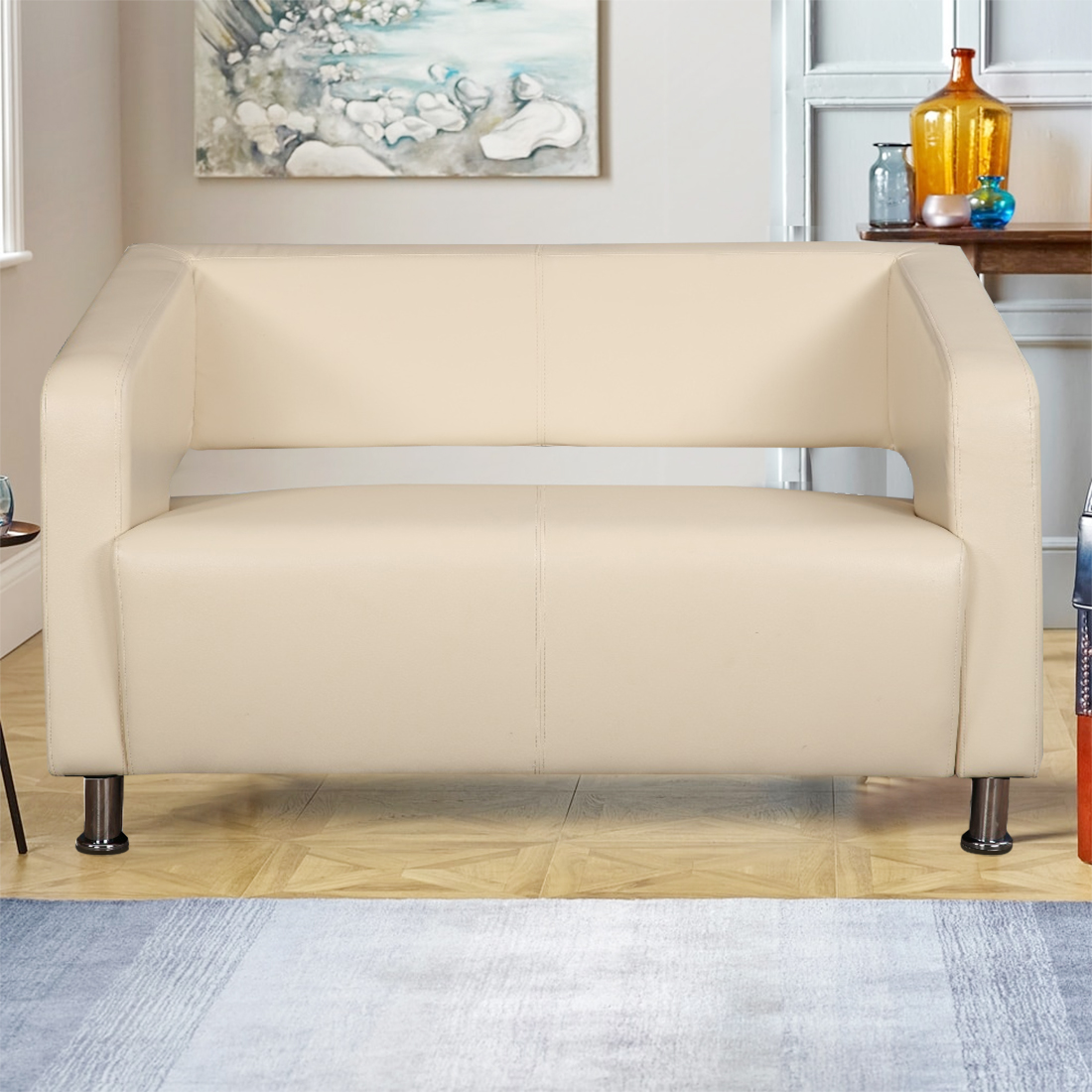 Arrow PVC Office Sofa in Beige Colour by HomeTown
