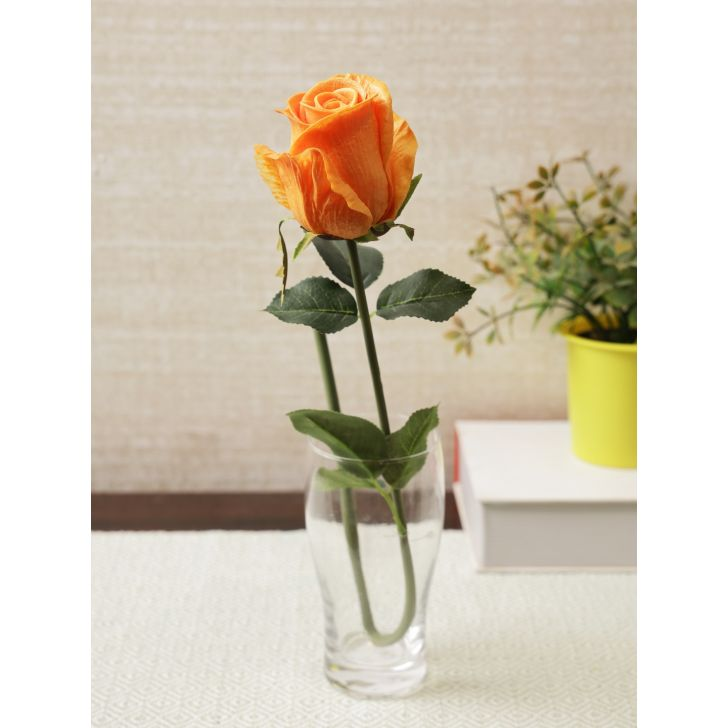 Elora Single Yellow Rose Polyester Artificial Flower 55cm in Yellow Colour