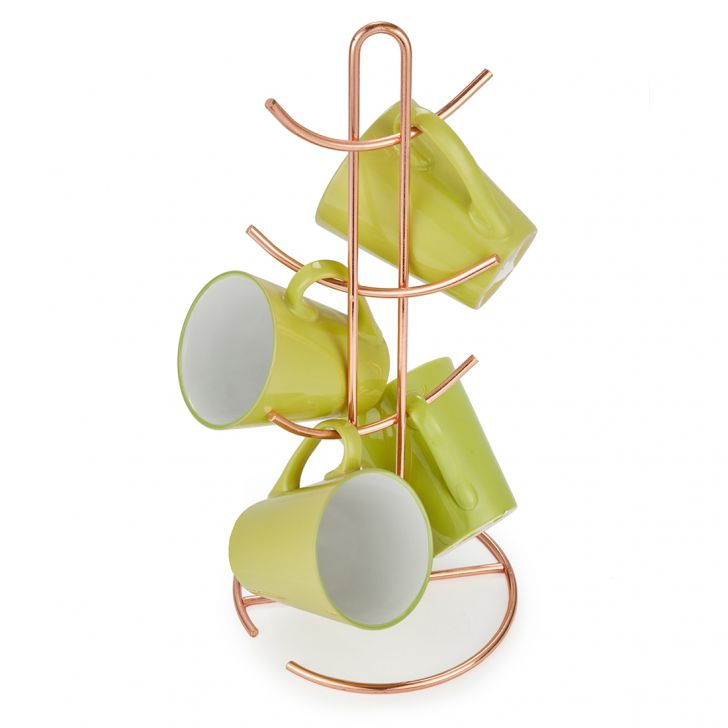 Mug Holder Coffee Mugs in Copper Finish Colour by Living Essence