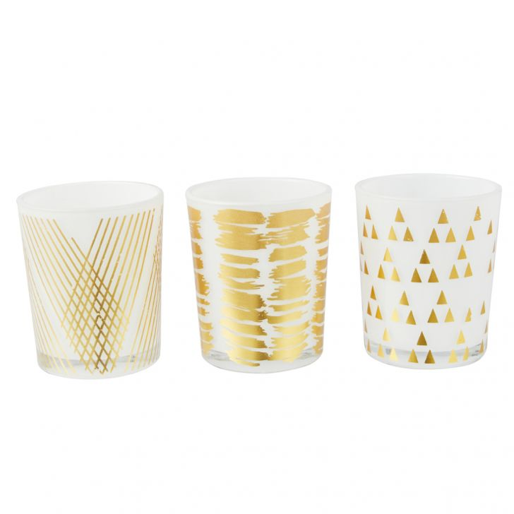 Meira Set Of Three Tea-Light Accent Lighting in White Colour by Living Essence