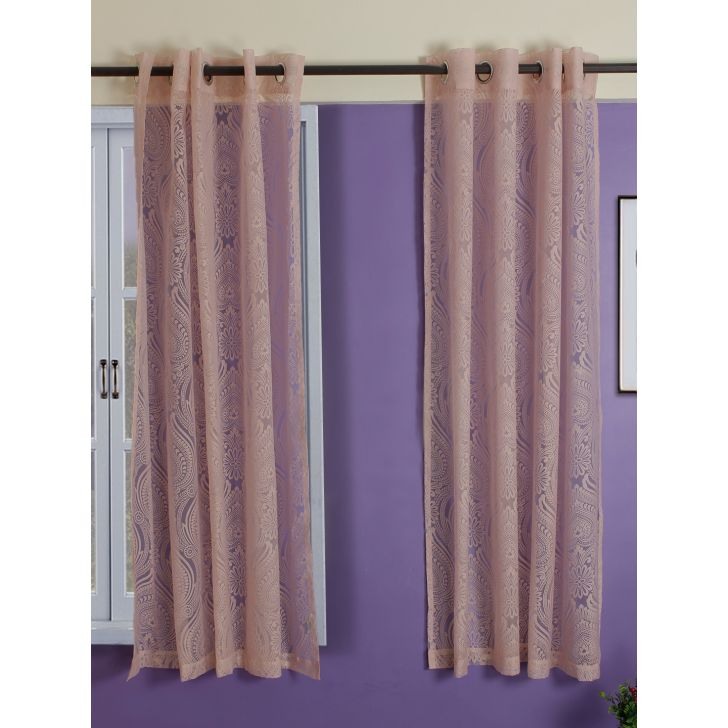Set of 2 Amour Burnout Window Polyester Sheer Curtains in Blush Colour by Living Essence