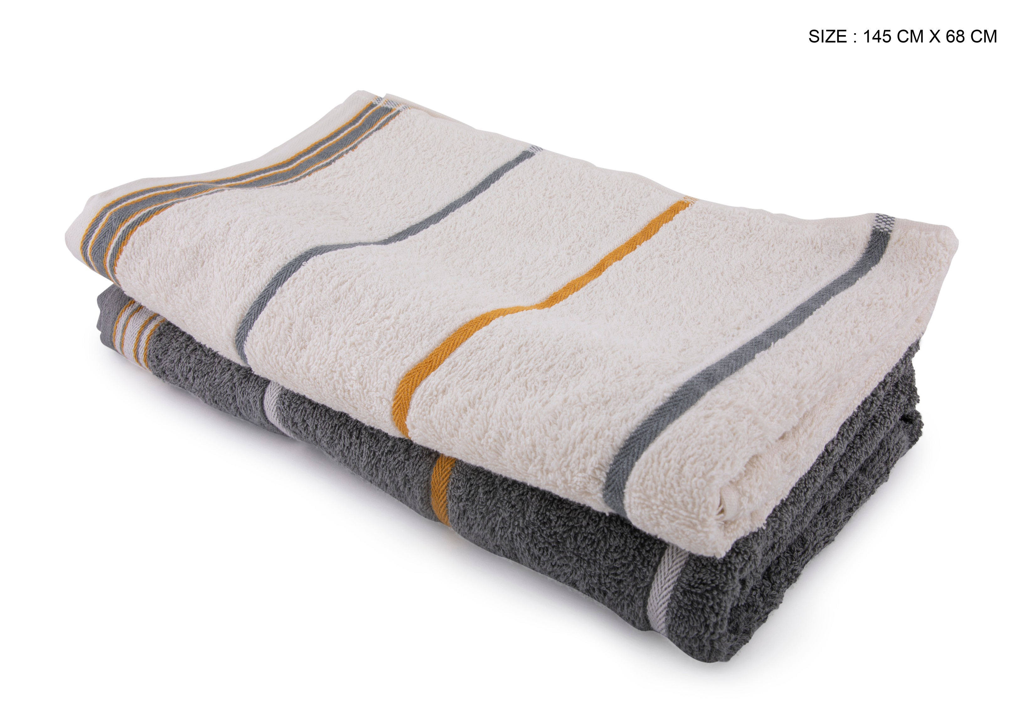 Living Essence Emilia Off White Grey Set Of 2 Terry Towels Cotton Towel Sets in Off White Grey Colour by HomeTown
