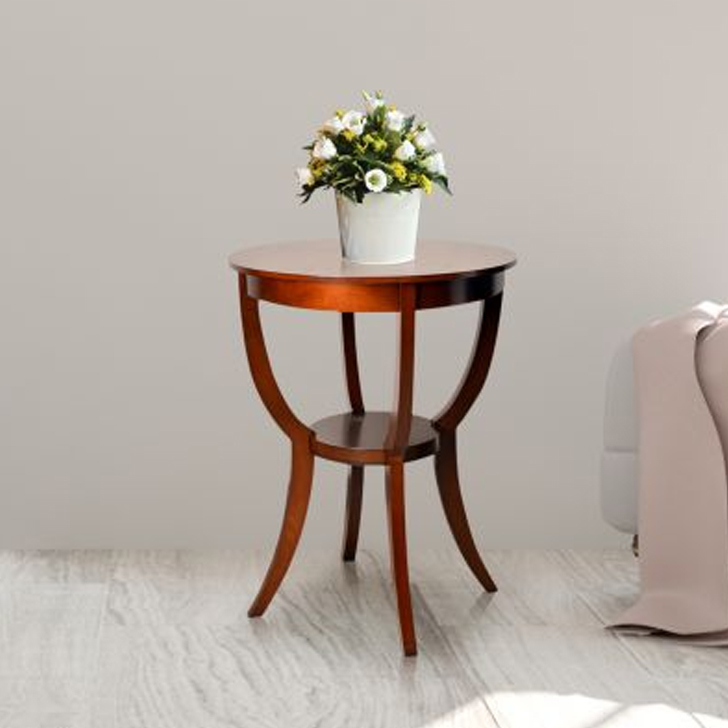 Radial Solid Wood End Table in Brown Colour by HomeTown