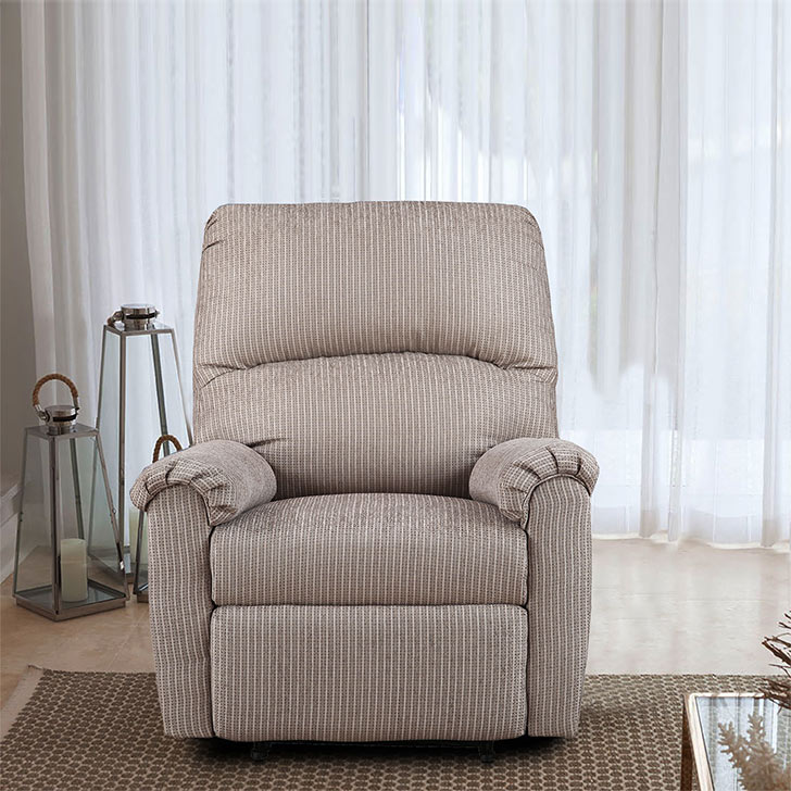 Jonathan Fabric Single Seater Recliner in Beige Colour by HomeTown