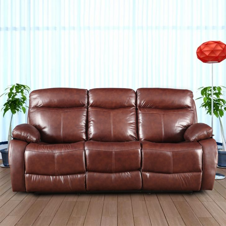 Dublin Half Leather Three Seater Electric Recliner in Brown Colour by HomeTown