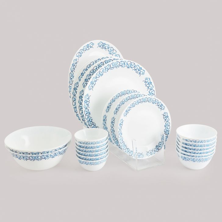 Diva Ivory Dinner Set 27 Pcs Royal Arch Glass Dinner Sets in Multi Colour Colour by Diva