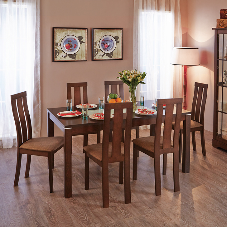Delton Solid Wood Six Seater Dining Set in Burn Beech Colour by HomeTown