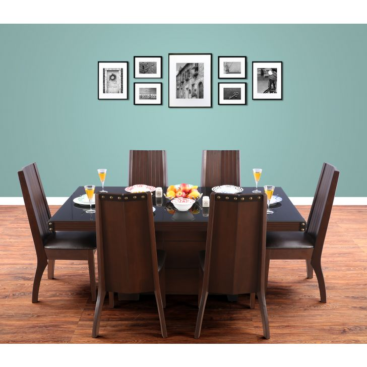 Candice Solid Wood Six Seater Dining Set in Dark Walnut Colour by HomeTown