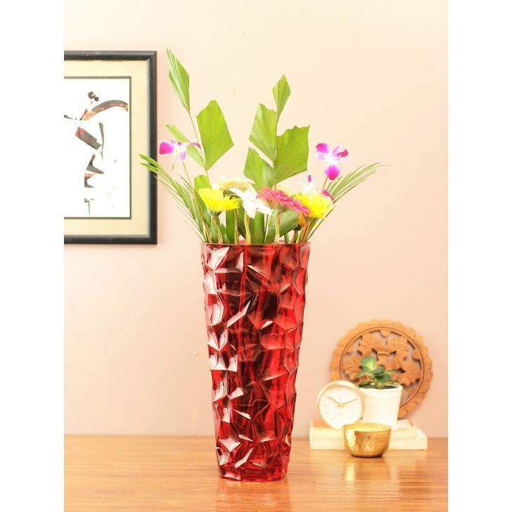 Eva Honeycomb Glass Vase Red Glass Vases in Red Colour by Living Essence