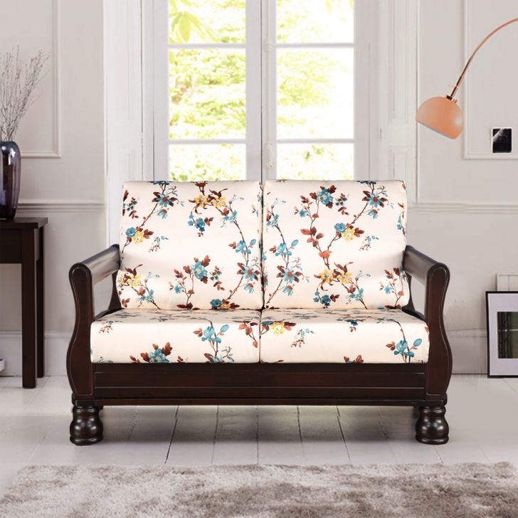 Clyde Solid Wood Two Seater Sofa in Floral Colour by HomeTown
