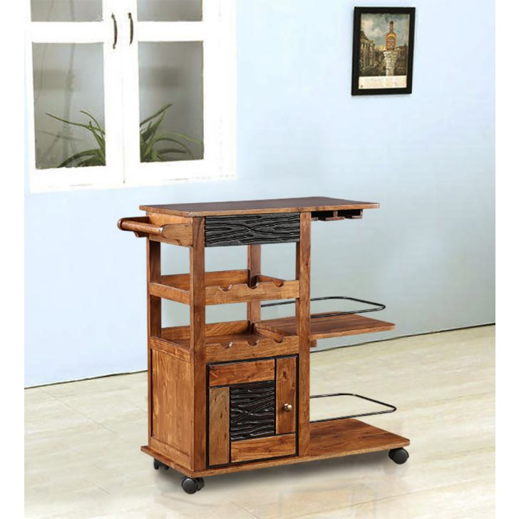 Leopold Solid Wood Serving Trolley in Brown Colour by HomeTown