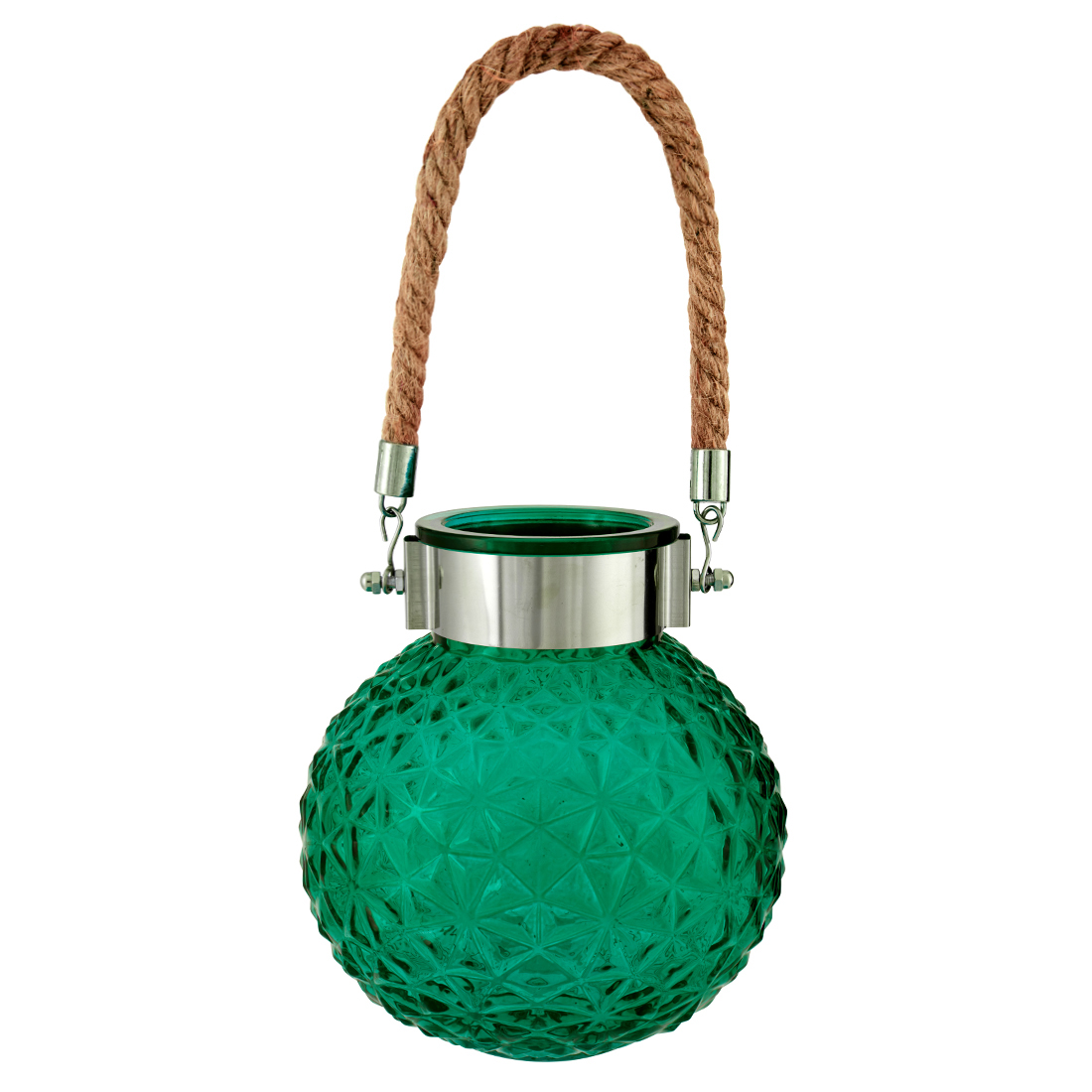 Marvela With Rope Glass Candle Holders in Emerald Colour by Living Essence