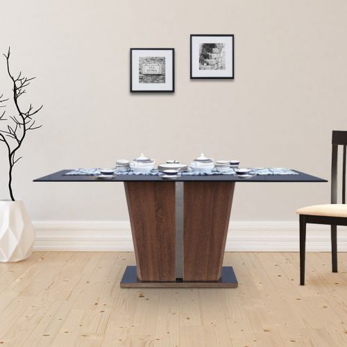 f98ff9342d Buy Cadillac Engineered Wood Glass Top Six Seater Dining Table in Black  Colour by HomeTown Online at Best Price - HomeTown.in