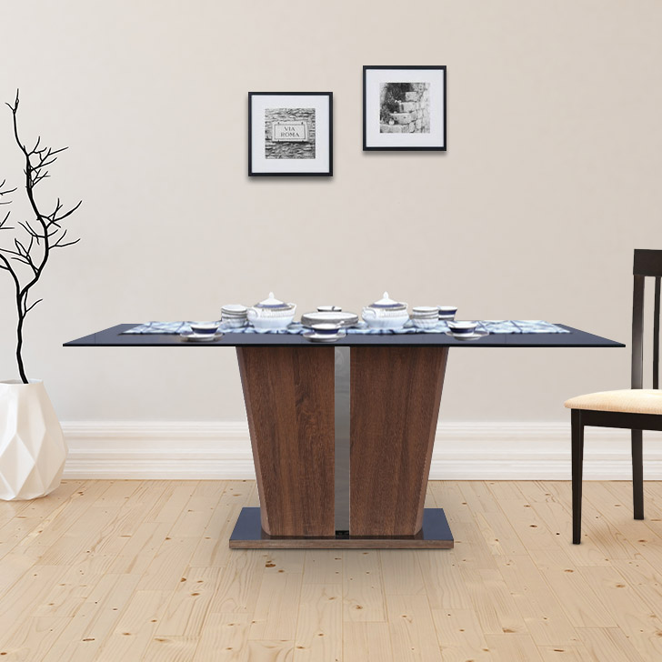 Cadillac Engineered Wood Glass Top Six Seater Dining Table in Black Colour by HomeTown