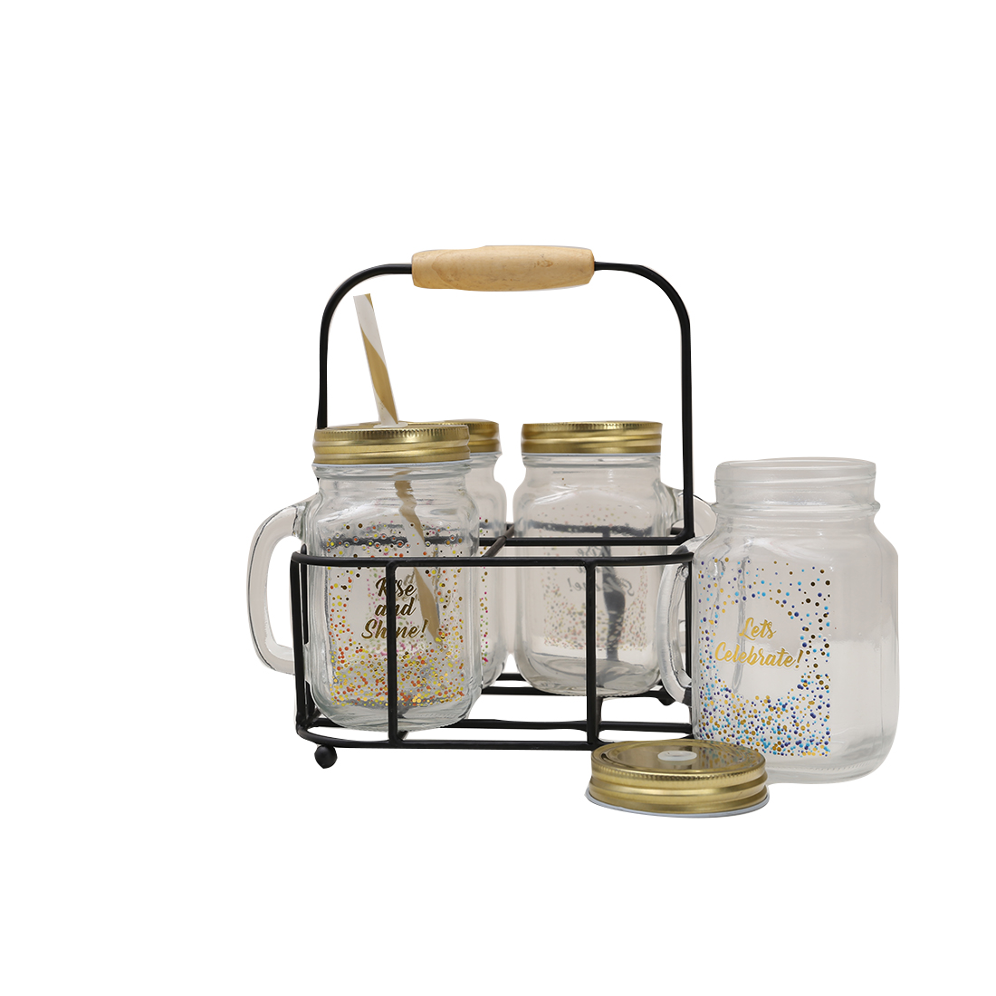 Celebration Mason Jars Set Of 4 With Stand Glass Mason Jars in Transparent Colour by HomeTown