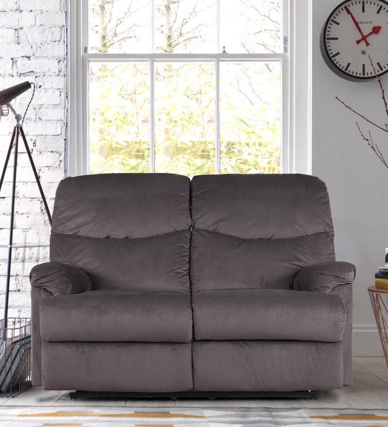 Daniel Fabric Two Seater Recliner in Mocha Colour by HomeTown