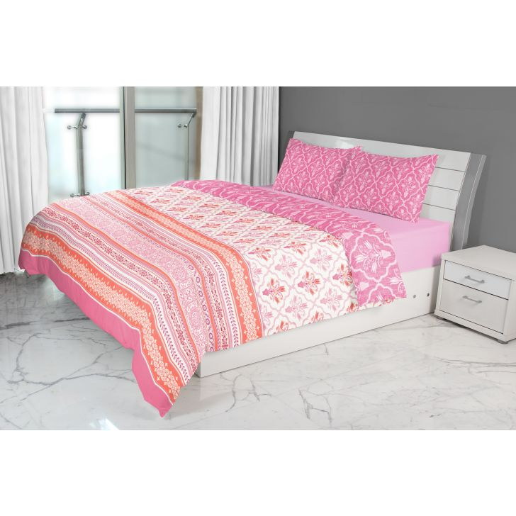 Emilia Double Comforter Rose Cotton Comforters in Rose Colour by Living Essence