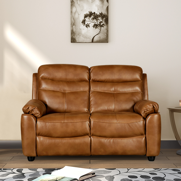 Vegas Fabric Two Seater Sofa in Brown Colour by HomeTown