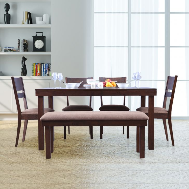 Hopton Solidwood 6 Seater Dining Set With Bench in Walnut Colour by HomeTown