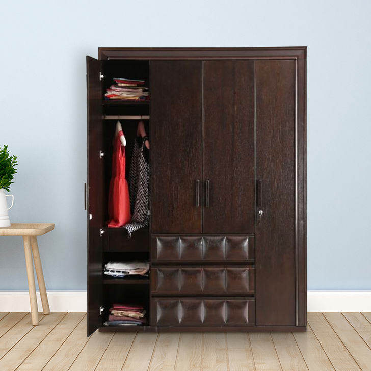Imperial Rubber Wood Four Door Wardrobe in Walnut Colour by HomeTown