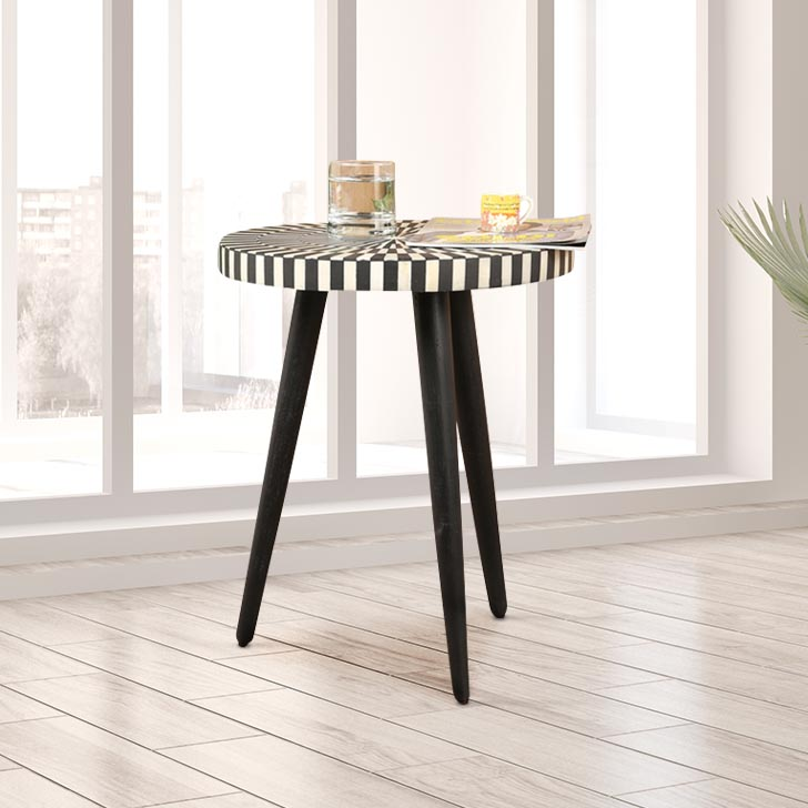 Triston Solid Wood Outdoor Table in Black & White Colour by HomeTown