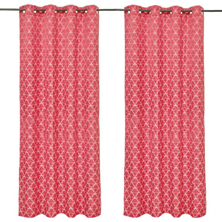 Amour Jacquard set of 2 Polyester Door Curtains in Red Colour by Living Essence
