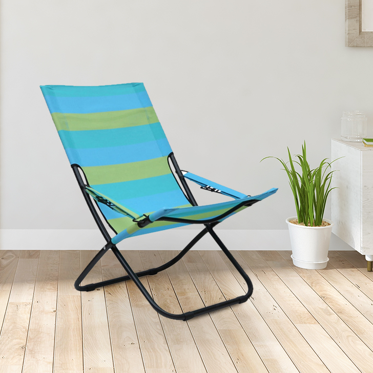 Aries Mild Steel Folding Chair in Black& Blue And Mustard Colour by HomeTown