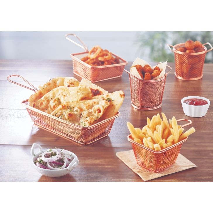 Songbird Square Mesh Basket Medium Stainless steel Serving Sets in Copper Colour by Songbird