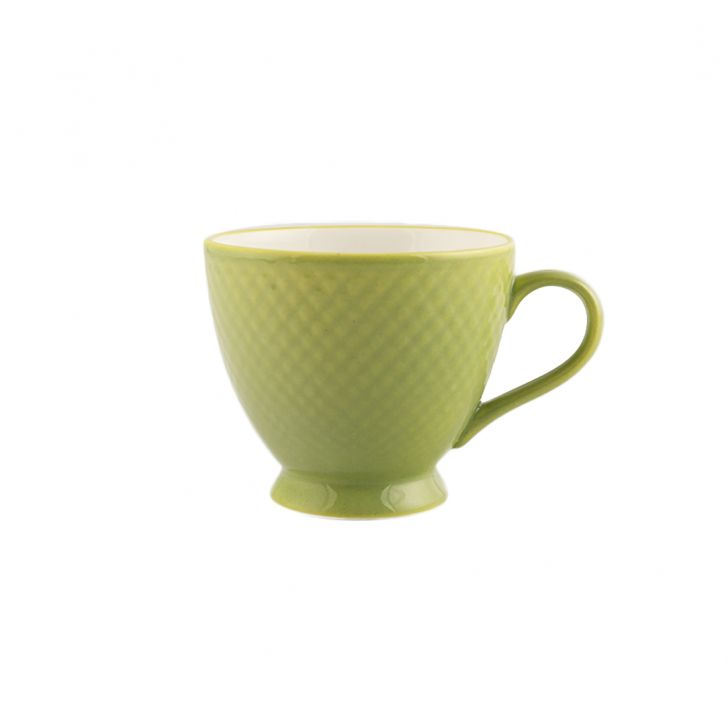 Garden Of Eva Set Of 12 Cup & Saucer Ceramic Cups & Saucers in Green And  White Colour by Living Essence