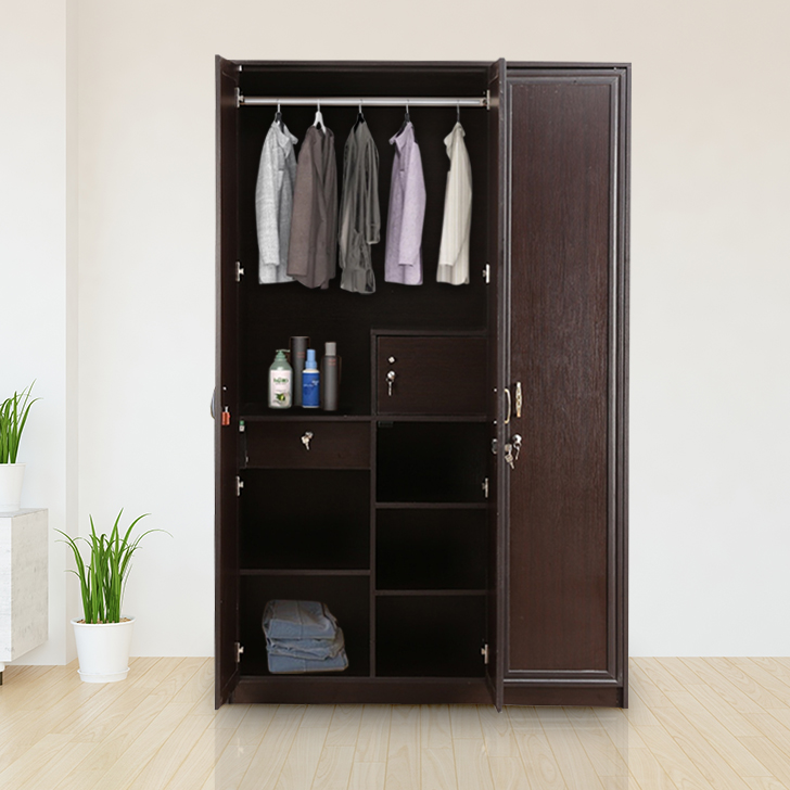 Majestic Engineered Wood Three Door Wardrobe in Vermount Colour by HomeTown